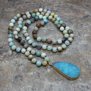 Amazonite Natural Druzy Drop Stone Pendant